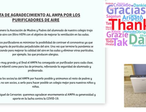 Carta de agradecimiento al AMPA por los purificadores de aire