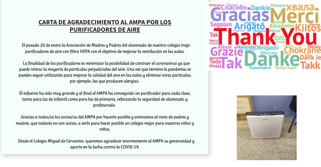 Agradecimientos al AMPA